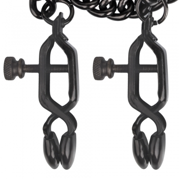 Cherry Banana Black Adjustable Nipple Clamps With Chain