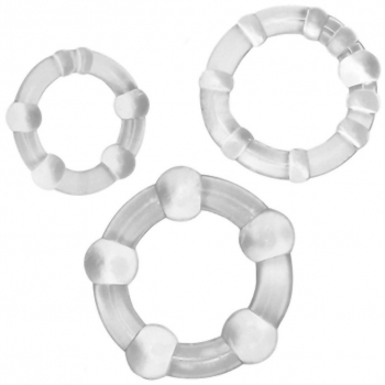 Cherry Banana Clear Beaded Cock & Ball Rings 3 Pack