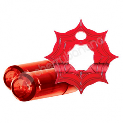 Crossbones The Pleasure Web Red Twin Bullet Cock Ring