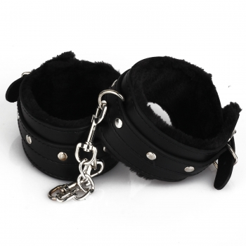 Cherry Banana Dare Black Faux Leather Fluffy Ankle Cuffs