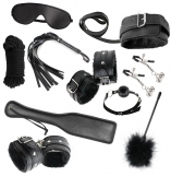 Cherry Banana Dare Black Faux Leather 10 Piece Bondage Kit
