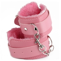 Cherry Banana Pink Faux Leather Fluffy Cuffs