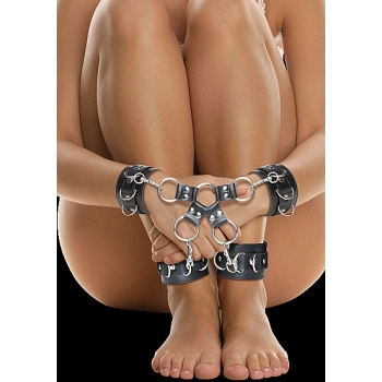 Ouch Black Leather Hand And Leg Cuffs