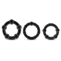 Stay Hard Black Beaded Cockrings 3 Pack
