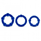 Stay Hard Blue Beaded Cockrings 3 Pack