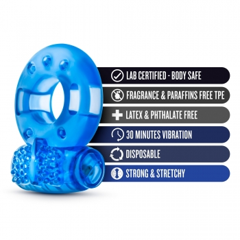 Stay Hard Blue Reusable Cockring