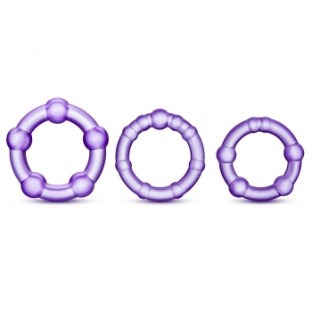 Stay Hard Purple Beaded Cockrings 3 Pack
