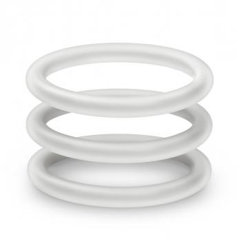 Performance VS1 Pure Premium Silicone White Cock Rings Medium 3 Pack