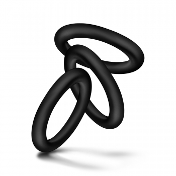 Performance VS2 Pure Premium Silicone Black Cock Rings Small 3 Pack