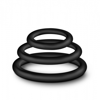 Performance VS4 Pure Premium Silicone Black Cock Rings Mixed 3 Pack