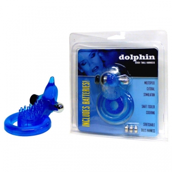 Dolphin Blue Vibrating Cock & Ball Harness