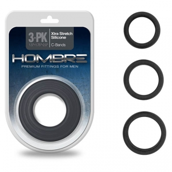 Hombre Xtra Stretch Black Cock Ring Bands 3 Pack