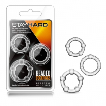 Stay Hard Clear Beaded Cockrings 3 Pack