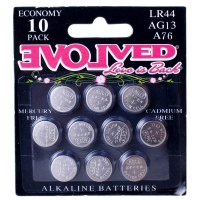 Evolved LR44 Alkaline Batteries 10 Pack