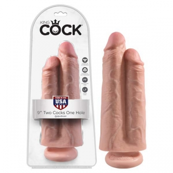 King Cock Flesh 9'' Two Cocks One Hole Dildo