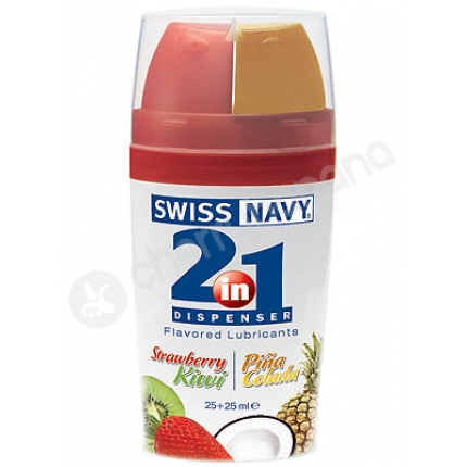 Swiss Navy 2-in-1 Strawberry Kiwi & Pina Colada Lubricants 2 x 25ml