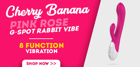 Cherry Banana Pink Rose 10 Function G-Spot Rabbit Vibrator
